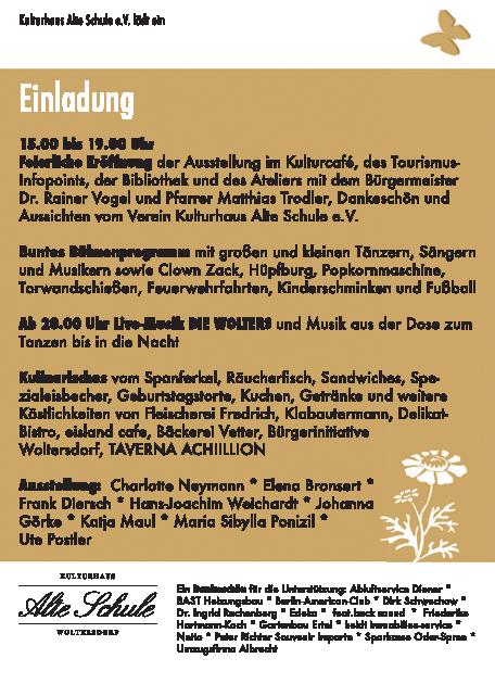 Programm zur Eröffnung am 12. Mai