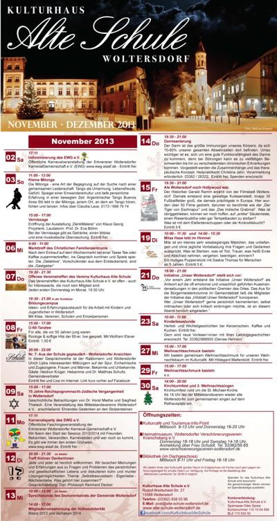 Programm November/Dezember 2013 (Vorderseite)
