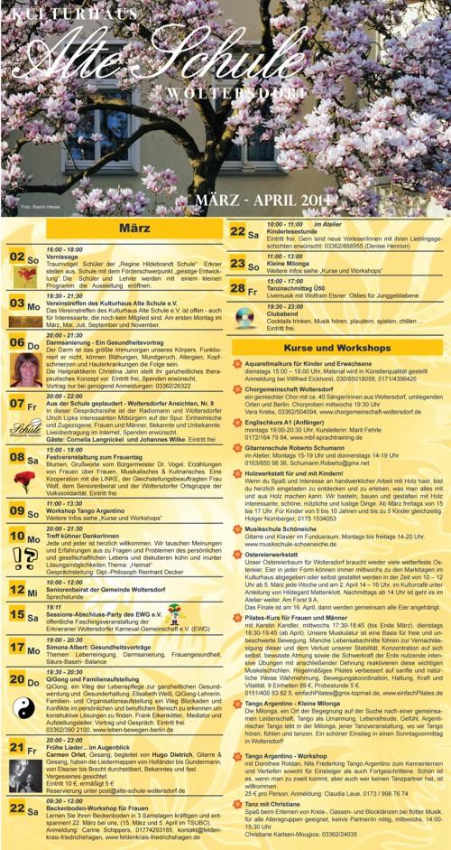 Programm März/April 2014 (Vorderseite)