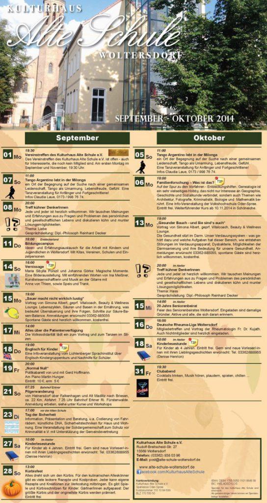 Programm September/Oktober 2014 (Vorderseite)
