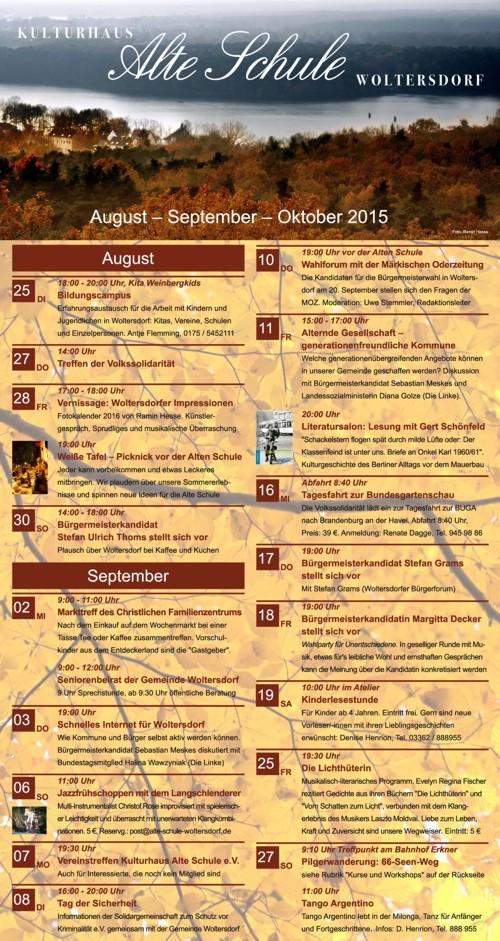 Programm September/Oktober 2015