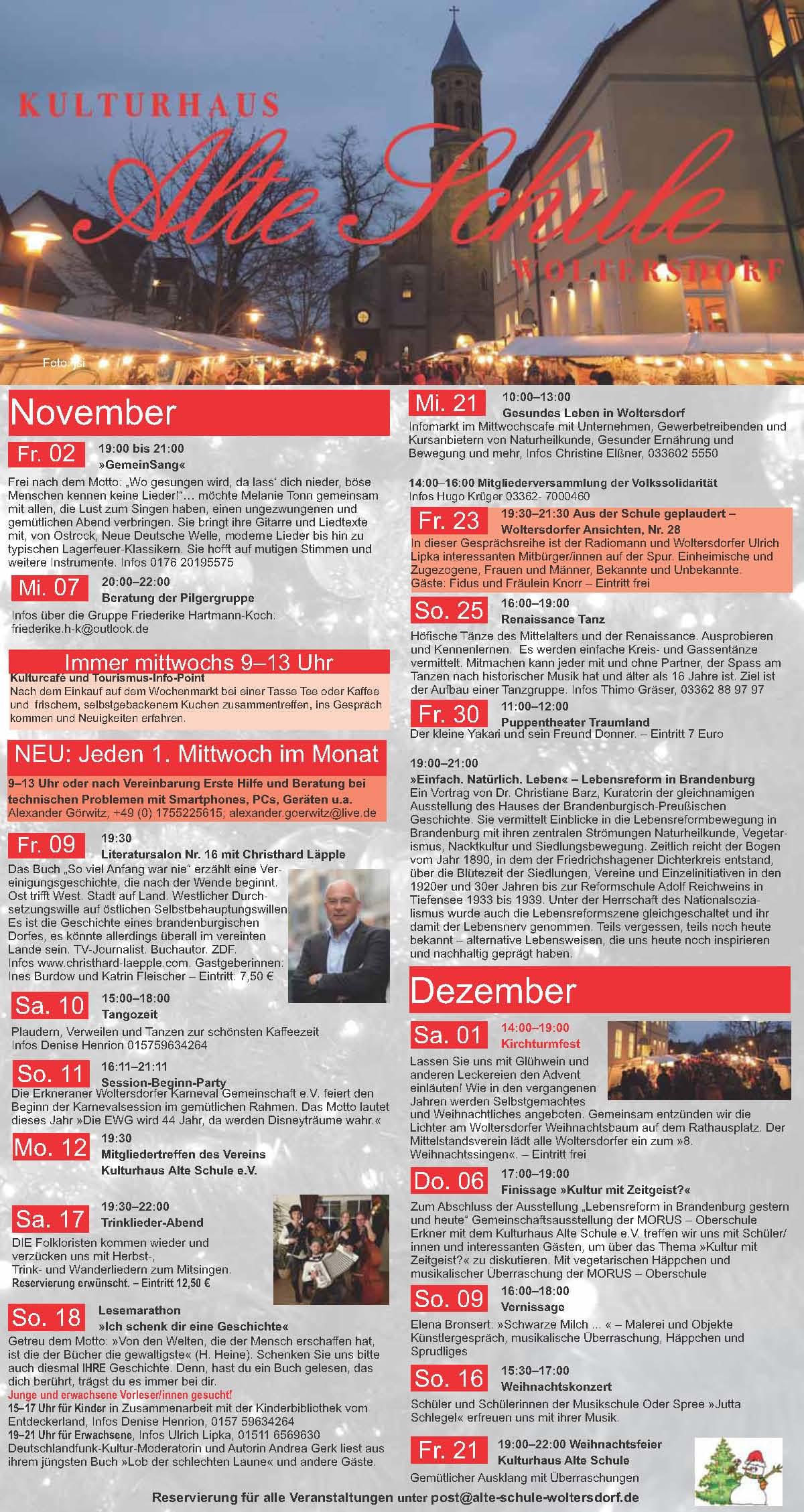 Programm November/Dezember 2018